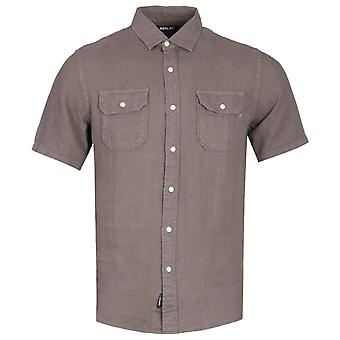 Replay Regular Fit Brown Chest Pocket Short Sleeve Shirt