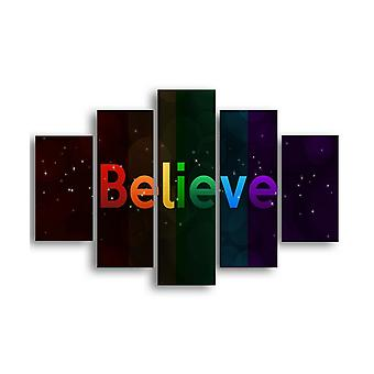 Picture Believe Multicolor in MDF, L19xP0.3xA40 cm (2 pc's), L19xP0.3xA50 cm (2 pc's), L19xP0.3xA60 cm (1 pc's)