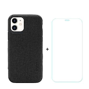Voor iPhone 11 Case Denim Texture Black Cover & Tempered Glass Screen Protector