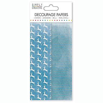 Simply Creative FSC Decoupage Paper Blue Stags
