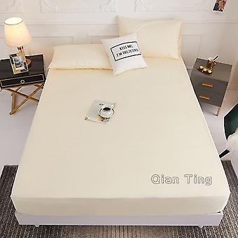 Solid Polyester Bed Mattress Set With Four Corners And Elastic Band Sheets