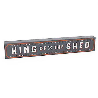 King of the Shed - Wooden Block Plaque Gift for Men
