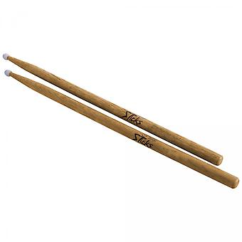 HN7A, Hickory Drum Sticks (7A, Nylon Tip, 12pr)