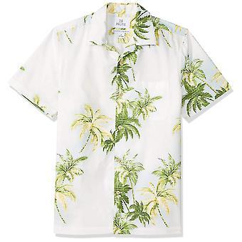 28 Palms Men's Standard-Fit 100% Cotton Tropical Hawaiian Shirt, Natural/Gree...