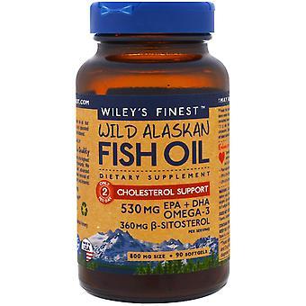 Wiley's Finest, Wild Alaskan Fish Oil, Cholesterol Support, 90 Softgels