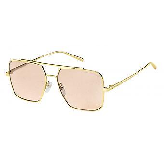 Sunglasses Men's Rectangular Double Bridge gold/Pink Glitter