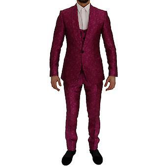 Dolce & Gabbana Pembe Jakarlı 3 Parça İnce Fit Takım ELBISE SIG60278-4