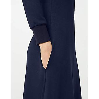 Meraki Women's A-line V-neck Midi Dress with Pockets, Navy, EU XS (US 0-2)