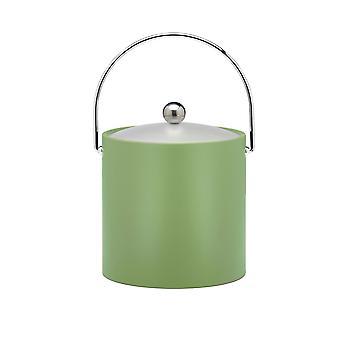 Cubo de hielo Mist Green 3 Qt., mango de bala de cromo, perilla redonda cromada, tapa de vinilo esmerilada