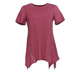 LOGO by Lori Goldstein Women's Top Knit Top w/ Button Detail Pink A301072