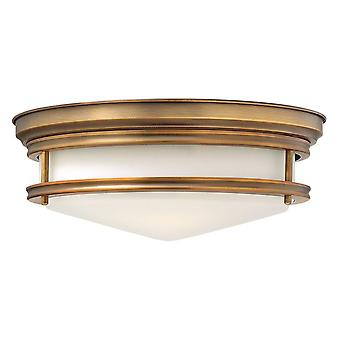 3 Light Semi Flush Ceiling Light Brushed Bronze, E27