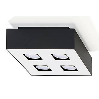 4 Light Flush Ceiling Light Black & White, GU10