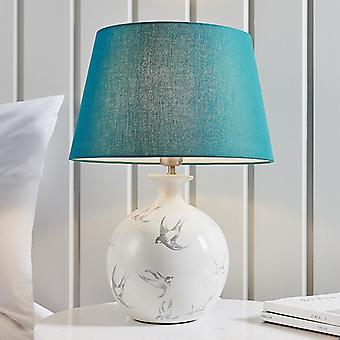 Endon Lighting Sophia & Evie - Lámpara de Mesa Gris Crackle Glaze & Green Cotton 1 Light IP20 - E27