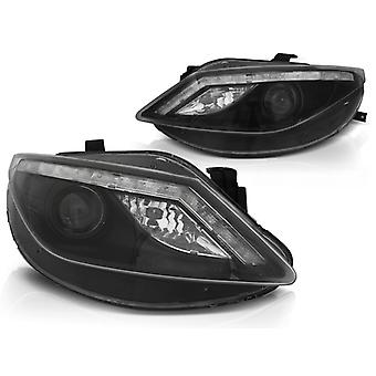 Koplampen met parkeerlicht SEAT IBIZA 6J 06 08-12 met LED knipperlicht ZWART