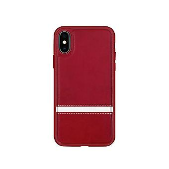 Leather Case for Apple iPhone X / XS Red donghong-12