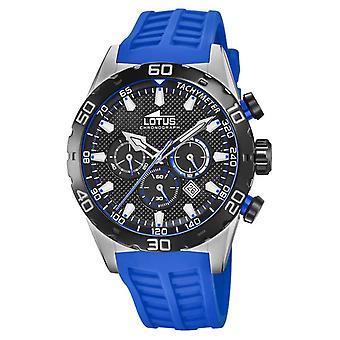 Lotus Colour   Men's Blue Silicone Strap   Black Chronograph Dial L18677/4 Watch