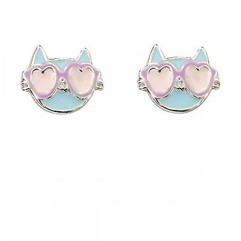 Inizio Sterling Silver Cat con occhiali da sole orecchini A2048