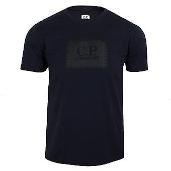 C.p. company men's black box logo navy t-shirt