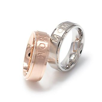 Mom ring stainless steel brushed jewelry size 5-9 6mm silver or rose gold tone