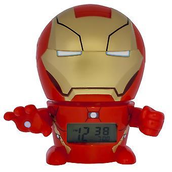 Bulbbotz marvel 2021432 iron man kids night light alarm clock with characterised sound   red/gold  