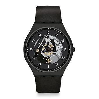 Swatch Ss07b101 vit sida svart läder hud Irony Klocka