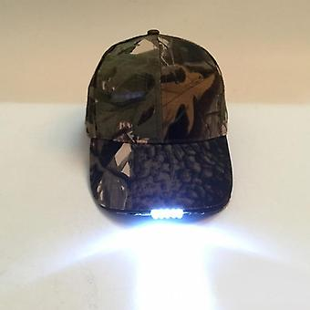 Adjustable 5 Led Lamp Battery Powered Hat With Led  Light Flashlight