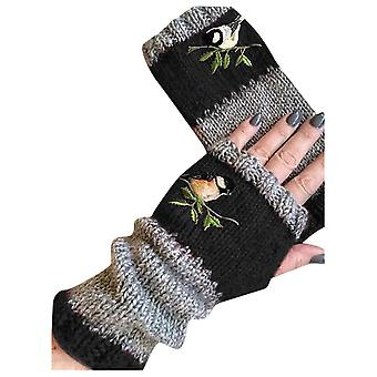 Birds Embroidery Gloves Women Knitted Fingerless Plus Velvet Splice Mittens