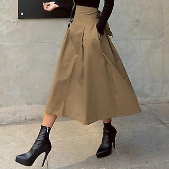 التنانير المرأة الكورية أزياء الصلبة اللون الكبير أرجوحة السيدات الخريف الطويل البرية عالية