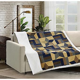 Spura Home Woodland Star Blue Quilted Sherpa Throw