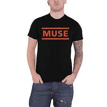 Muse T Shirt Orange Band Logo new Official Mens Black
