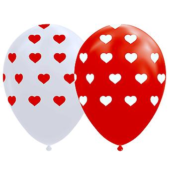 Balloons with Hearts Red and White - 8-pack