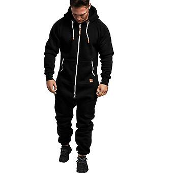 Mannen Pure Kleur, Splicing Jumpsuit, Herfst, Winter Casual Hoodie, Print Zipper,