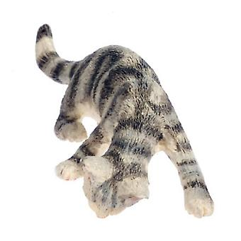 Dolls House Grey Cat Licking Up Water Miniature Accessory 1:12 Scale Pet