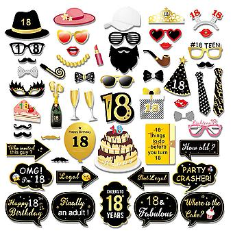 Konsait 55pcs 18th birthday photo booth props, black and gold happy 18 birthday decorations girls bo
