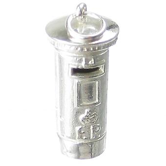 Pillar Box Sterling Silver Charm .925 X1 Postbox Letter Royal Mail Charms - 272