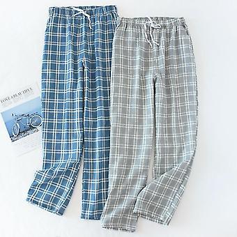 Puuvilla sideharso Unipohjat Ruudullinen Neulottu Pyjama Housut Löysät Sleepwear Lounge