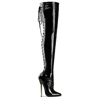 Devious Women's Shoes DAGGER-3063 Blk Stretch Pat