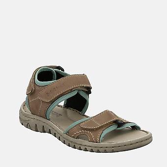 Lucia 15 taupe - josef seibel  brown leather velcro walking ladies sandal