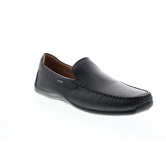 Geox U Xense Mox A Mens Black Leather Loafers & Slip Ons Casual Shoes