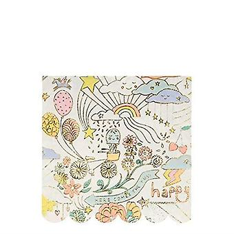 Meri Meri Happy Doodle Large Paper Party Napkins x 16