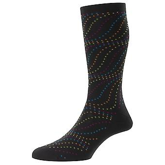 Pantherella Sumac Swirl Dots Fil D'Ecosse Socks - Charcoal Grey