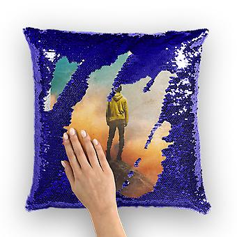 So far from me sequin cushion cover