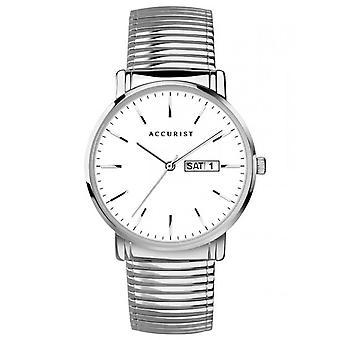 Accurist 7299 Classic White & Silver Reloj de acero inoxidable para hombre y apos;s