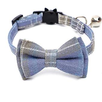 Cat Collar Breakaway With Bell And Cute Bow Tie, Wave Point Printing Design Bow Patterns For Cats