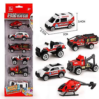 6pcs Children's Mini Suv Car Toy Engineering Model Slide Alloy Educational Boy's Toy