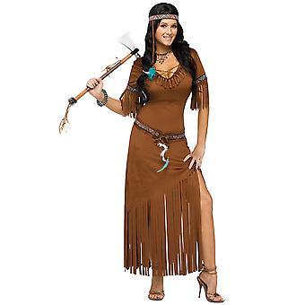 Wild West Indian Summer Pocahontas Native American lång klänning kvinnor kostym