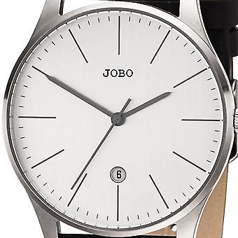 JOBO גברים של שעונים קוורץ אנלוגי פלדת אל-חלד עור רצועה של גברים בראון תאריך צפייה