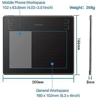 Wokex GrafikTablett HS64 untersttzt Mobiltelefon-Connect-Funktion mit dem akkufreien Stift 8192