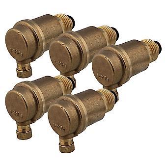 5x Riscaldamento a pavimento 1/2 pollice Ottone Acqua calda automatica Valvola di sfiato dell'aria calda Sigillatura affidabile