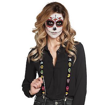 Zwarte bandjes met volwassen Mexicaanse skeletten Dia de los muertos